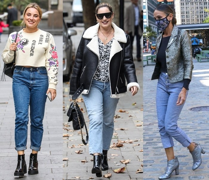 English television presenter Siân Welby, English model Kelly Brook, and American actress Sarah Jessica Parker wearing ankle boots