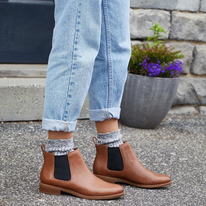 The Chelsea boot is a versatile style that is available in wide sizes at Clarks