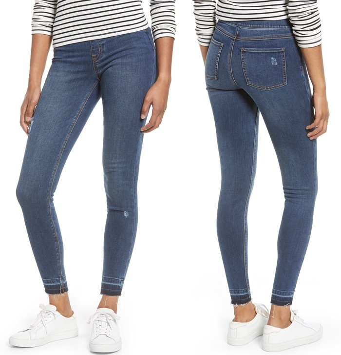 A dream come true with figure-sculpting support and a second-skin fit, these stretch-denim leggings are perfect to pair with nearly anything