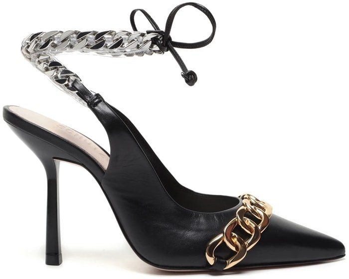 This eye-catching black dress pump is finished with a chain accent