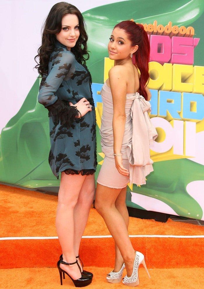 Elizabeth Gillies and Ariana Grande elongate their legs with high heels