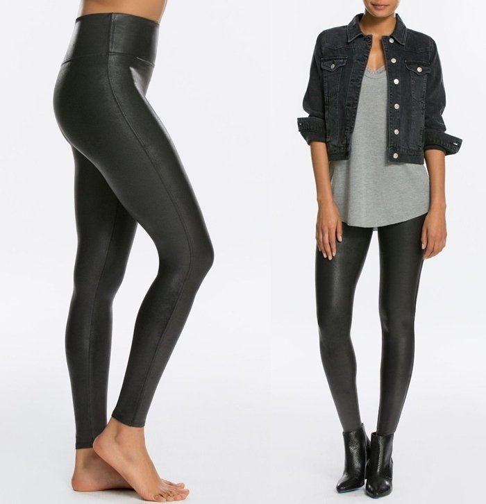 Featuring a contoured power waistband, these faux leather leggings give you a flat gut and great butt