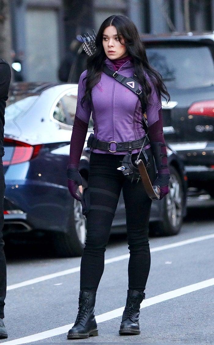 Hailee Steinfeld, aka Kate Bishop, wears Hawkeye's iconic purple costume