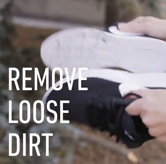 Remove caked-on dirt on the soles