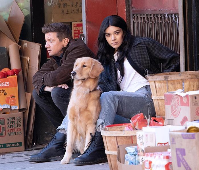 Hailee Steinfeld and Jeremy Renner filming Marvel's Hawkeye Disney Plus series in New York City on December 3, 2020