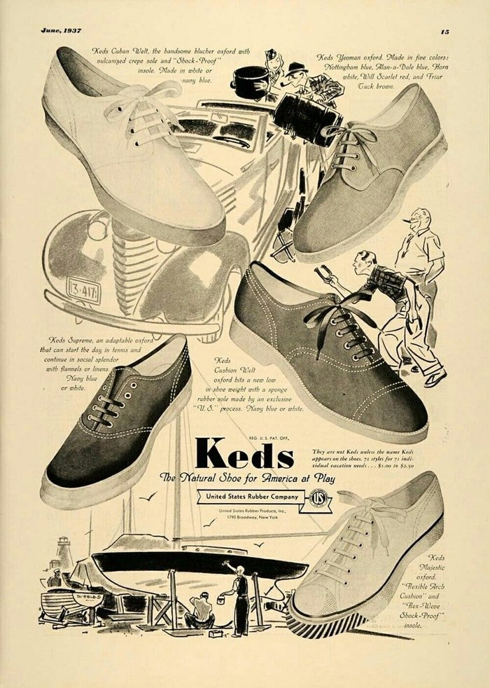 Keds shoes had a soft rubber sole and became known as sneakers as the rubber soles allowed