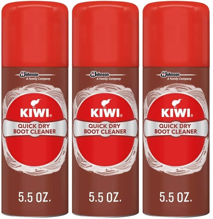 Kiwi's boot cleaner helps restore boots' appearance in just minutes with a fast-acting foam that quickly and effectively removes dirt and stains
