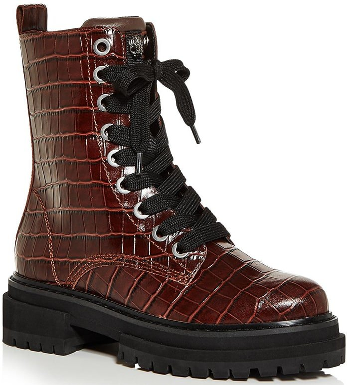 Kurt Geiger London Siva Croc-Embossed Combat Boots