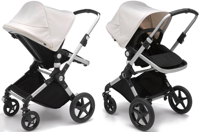 A compact fold and high-grade aerospace aluminum make this lightweight white and black stroller perfect for travel and living life on the go