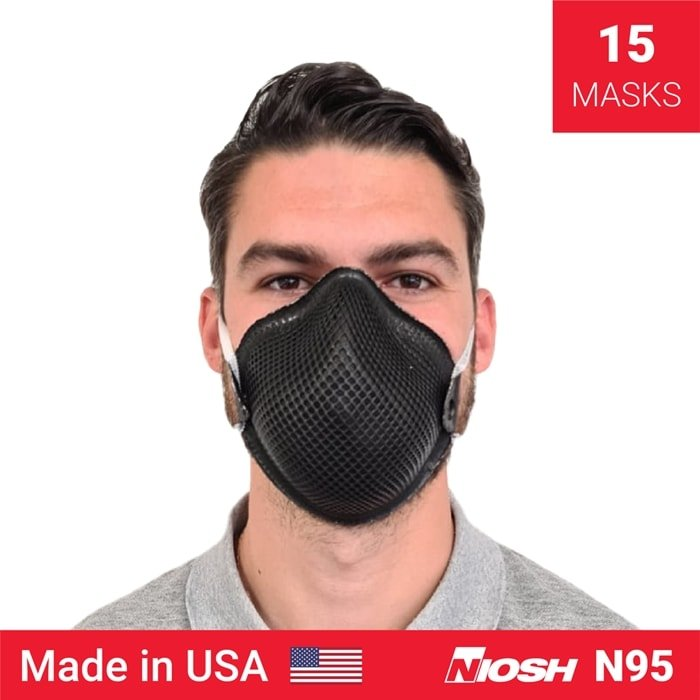 This mask features a strap allowing the mask to comfortably hang down loosely around the wearer's neck when not being utilized