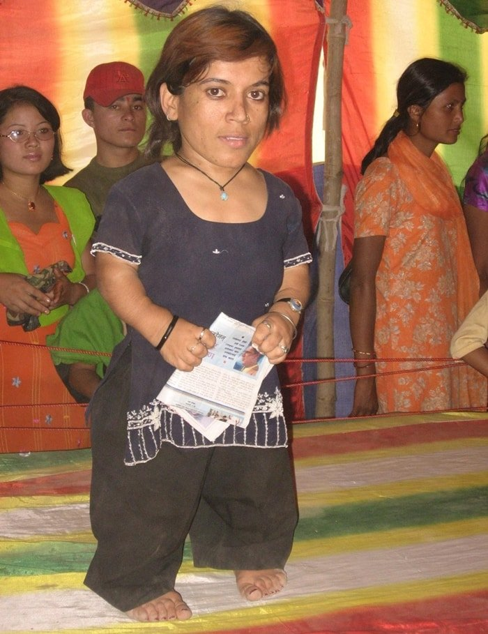 Measuring 33 inches (82.5 cm) and weighing 24 kilograms, Manju Ghimire is one of the shortest women in the world