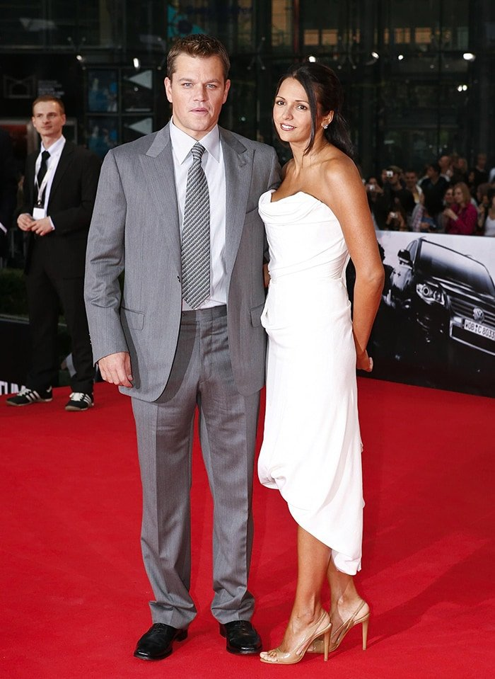 Matt Damon and wife Luciana Barroso pictured in 2008 at the Empire Film Awards