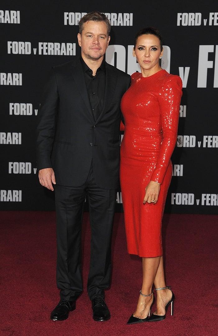 Matt Damon and Luciana Barroso at the Ford v Ferrari Los Angeles premiere on November 4, 2019