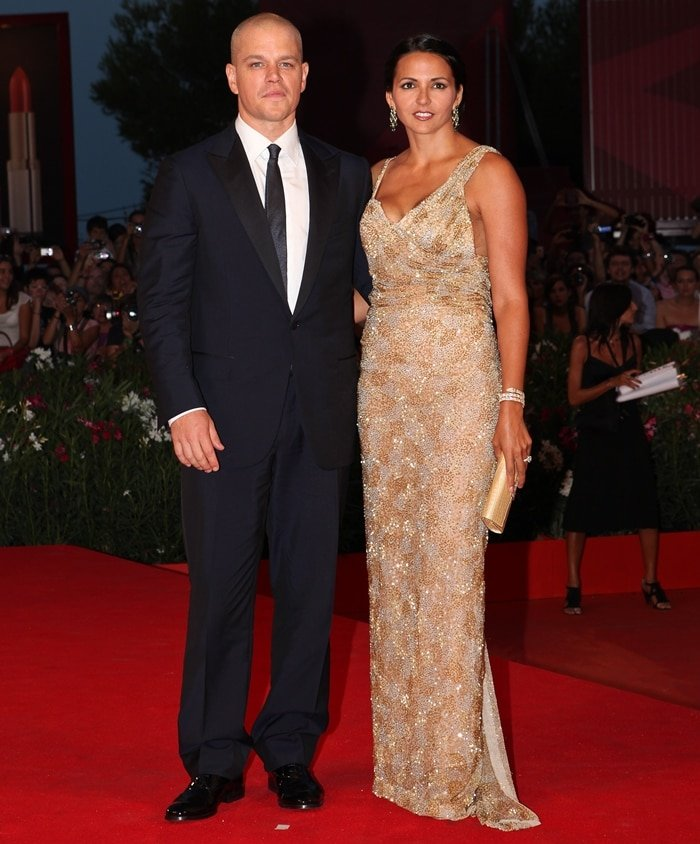 """Wearing a sequined Gustavo Cadile dress, Luciana Damon joined her husband Matt Damon at the """"Contagion"""" premiere"""