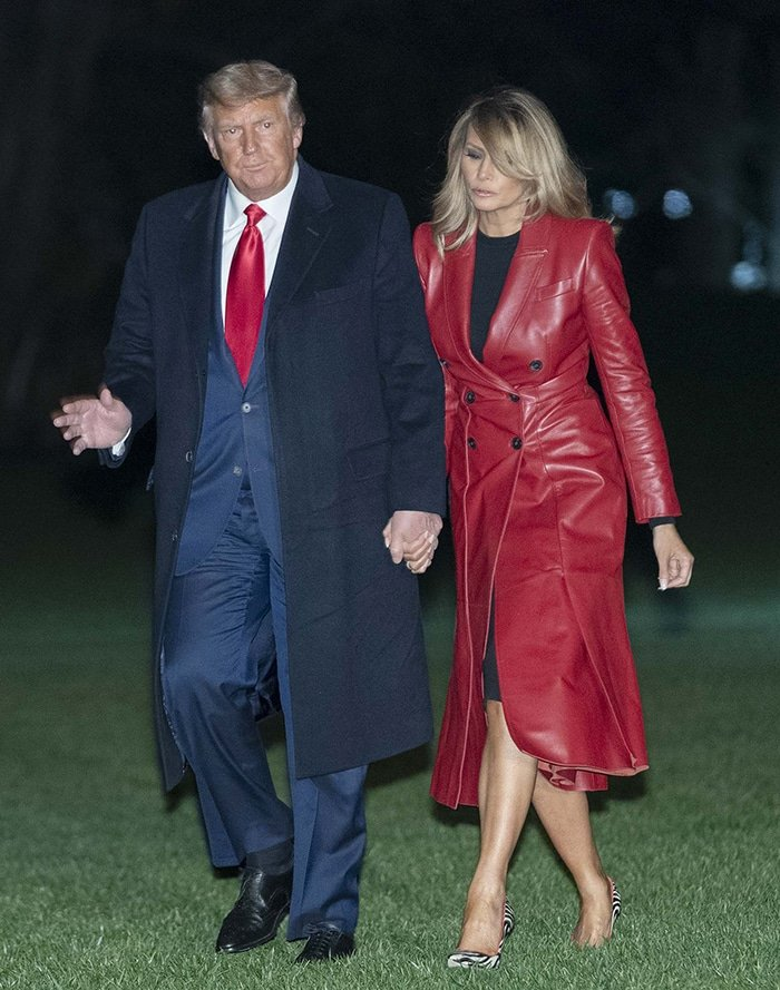 Melania Trump looks sensational in a red leather Alexander McQueen coat