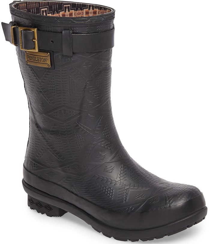 An embossed geometric design stamps signature style onto a waterproof short rain boot fitted with a Wool-Plus™ cushioned insole with odor-control technology
