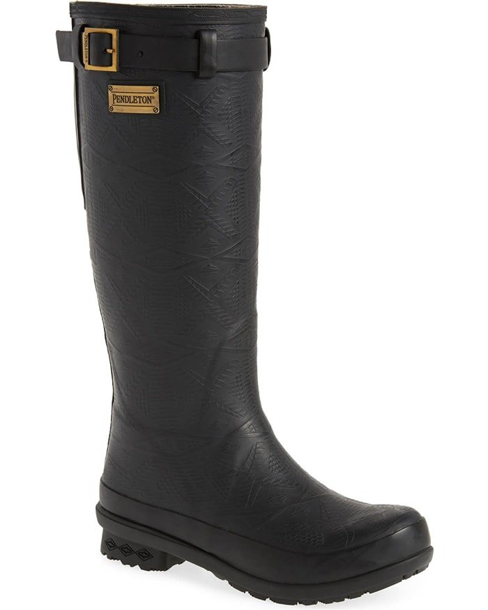 Quality-built, waterproof rain boots with a subtle embossed pattern