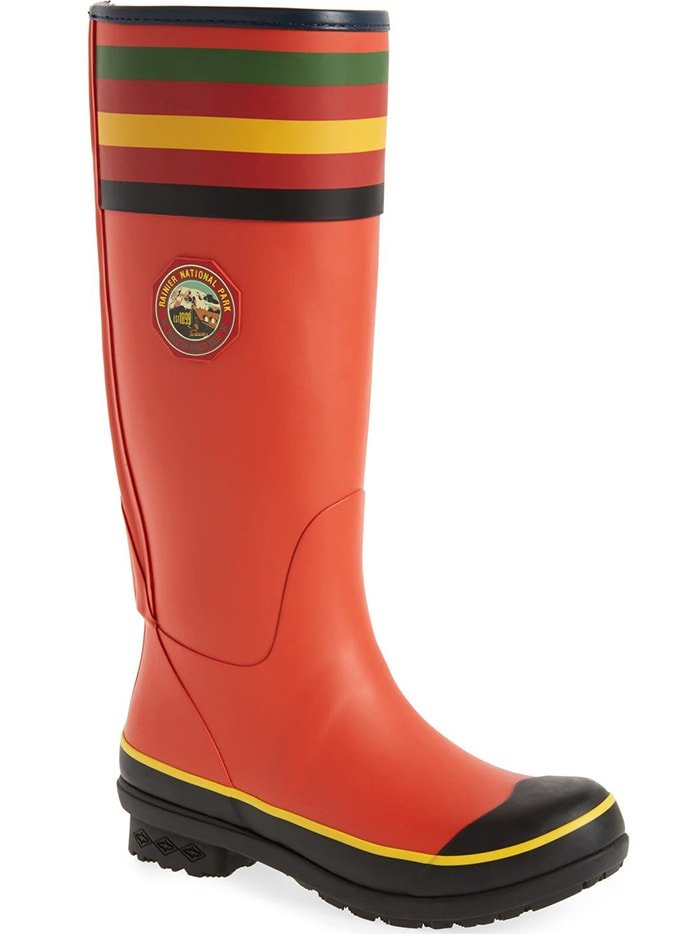 Splash-happy, women's rain boots emblazoned with National Park stripes and vintage logo