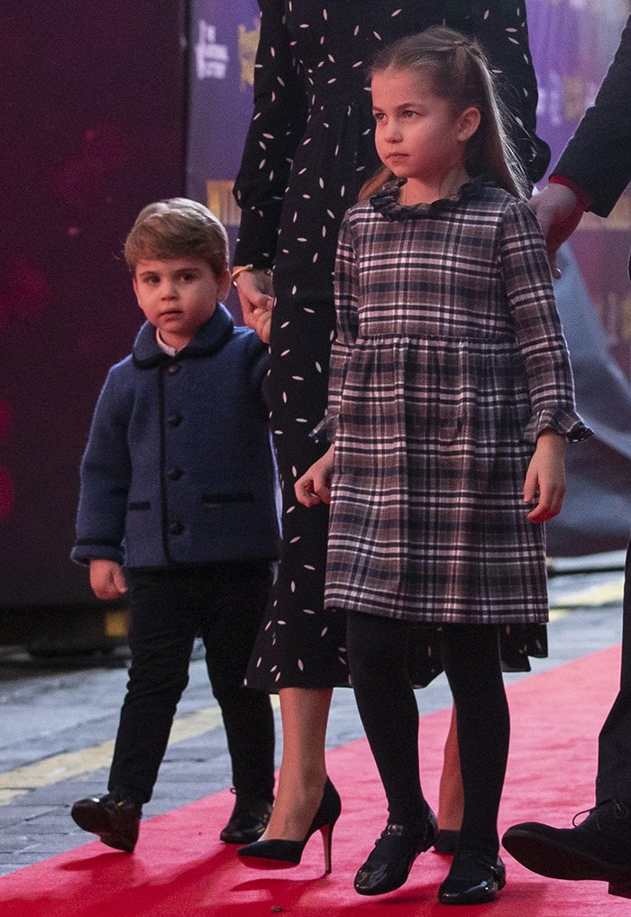 Princess Charlotte in Nicoletta Fanna babydoll dress and PePe shoes and Prince Louis in hand-me-down Amaia jacket
