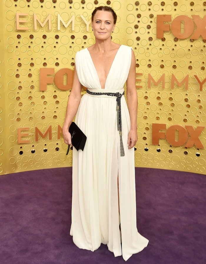 Robin Wright wearing a Saint Laurent dress at the 2019 Emmy Awards