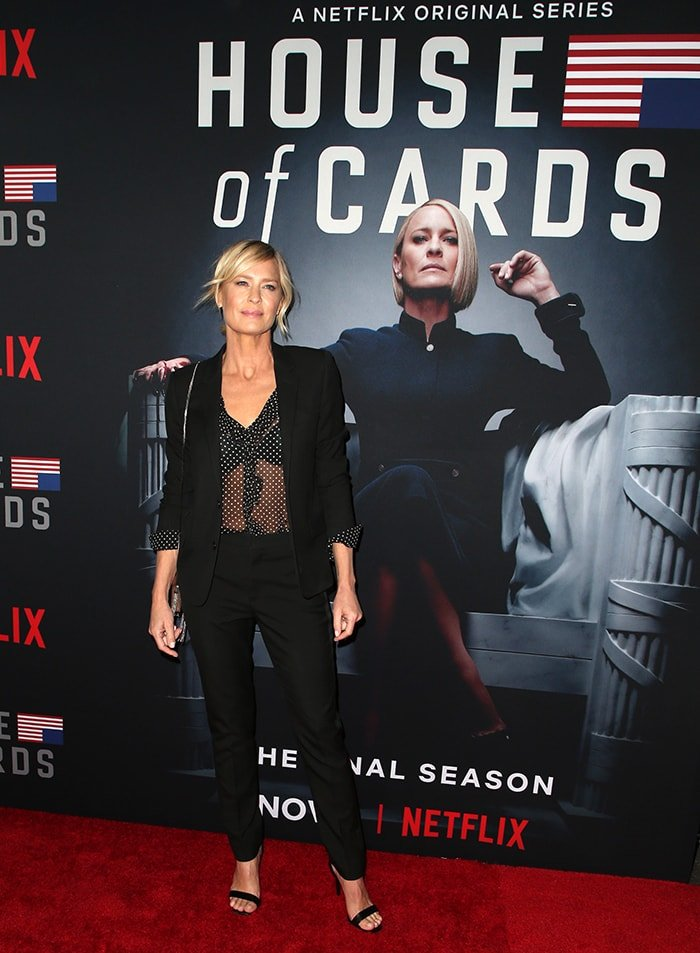 Robin Wright is known for her portrayal of Claire Underwood in the Netflix political drama web television series House of Cards