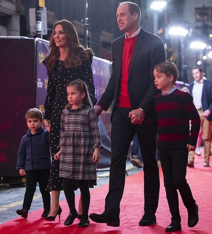 The Cambridges step out in blue-and-red to watch the special Pantoland show for key workers