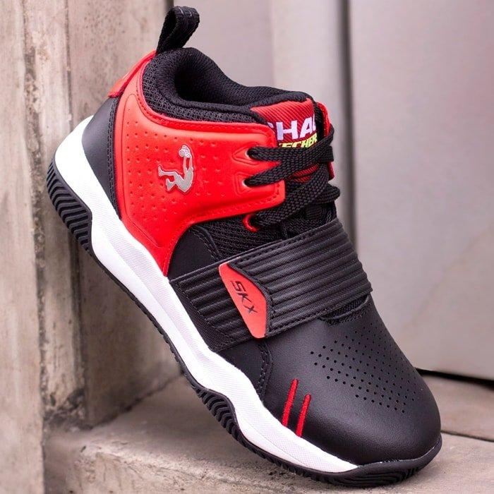 SHAQ by Skechers Powershot red and black mid-top athletic basketball sneaker
