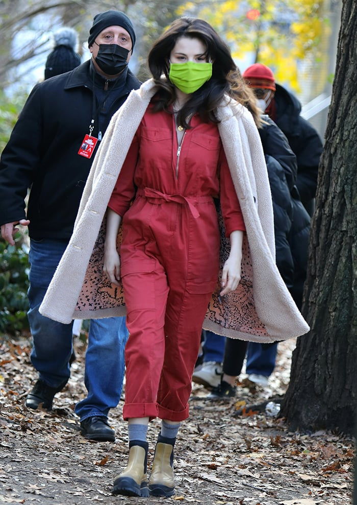 Selena Gomez arrives on the set of Only Murders in the Building in a red utility jumpsuit