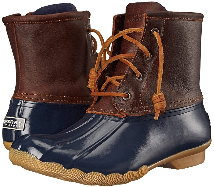 Rain boot made with premium leather and rawhide barrel-tied lacing for a secure fit