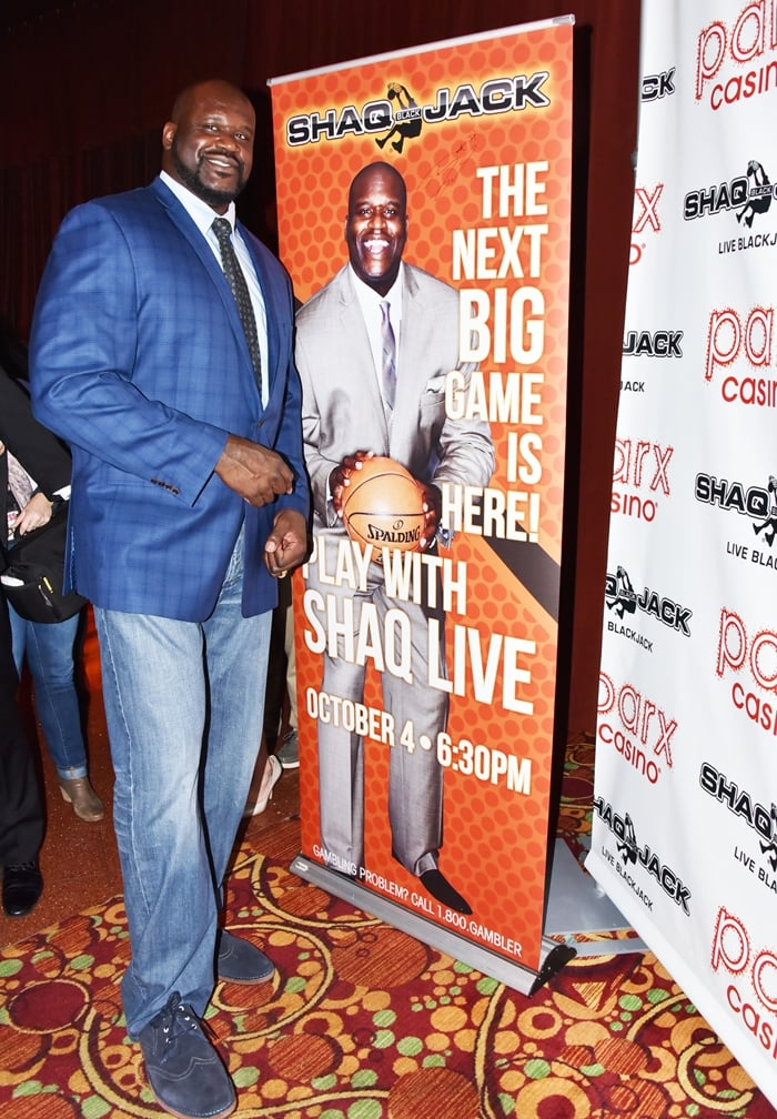 Shaquille O'Neal debuts ShaqBLACKJack, a hybrid slot-table game, at Parx Casino in Las Vegas