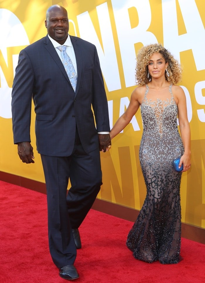 Shaquille O'Neal and Laticia Rolle attend the 2017 NBA Awards