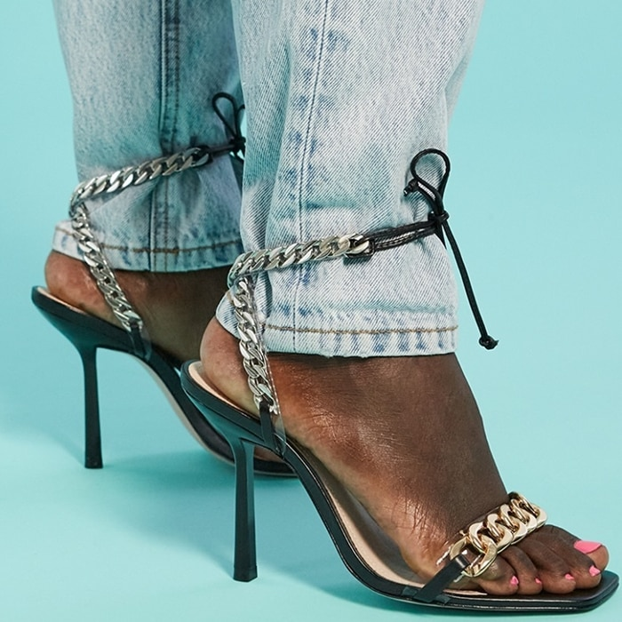 Clelia sandal showcasing an of-the-moment square-shaped toe, ankle-tie fastening and stiletto heel