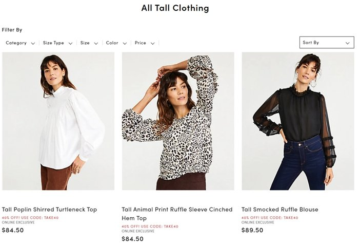 Ann Taylor's tall women's clothing collection features styles with an extended length, torso, and inseam so the fit is just right