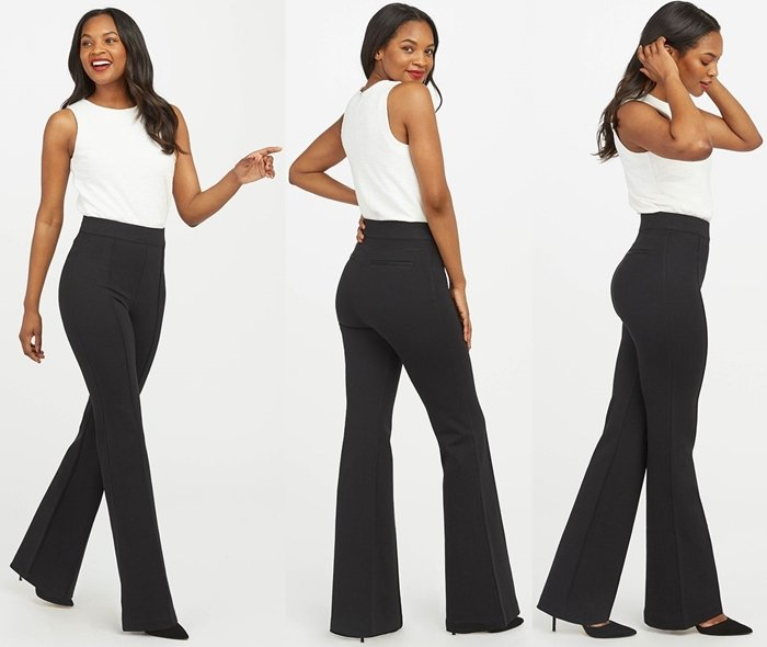 These stylish pants offer a sleek look, a great butt, and feature a fun flare hem