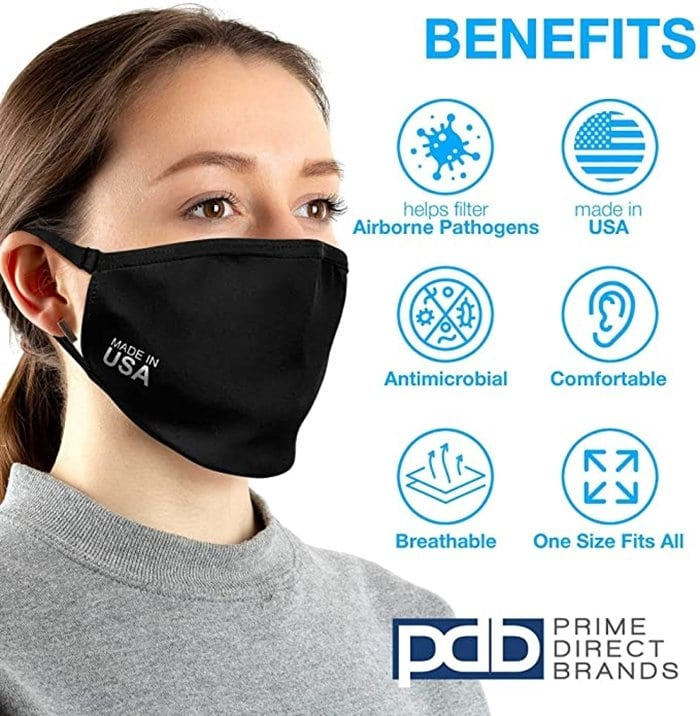 USA made cloth face mask can be worn in any outdoor and public areas with air pollution, allergens and other small particles and droplets in the air