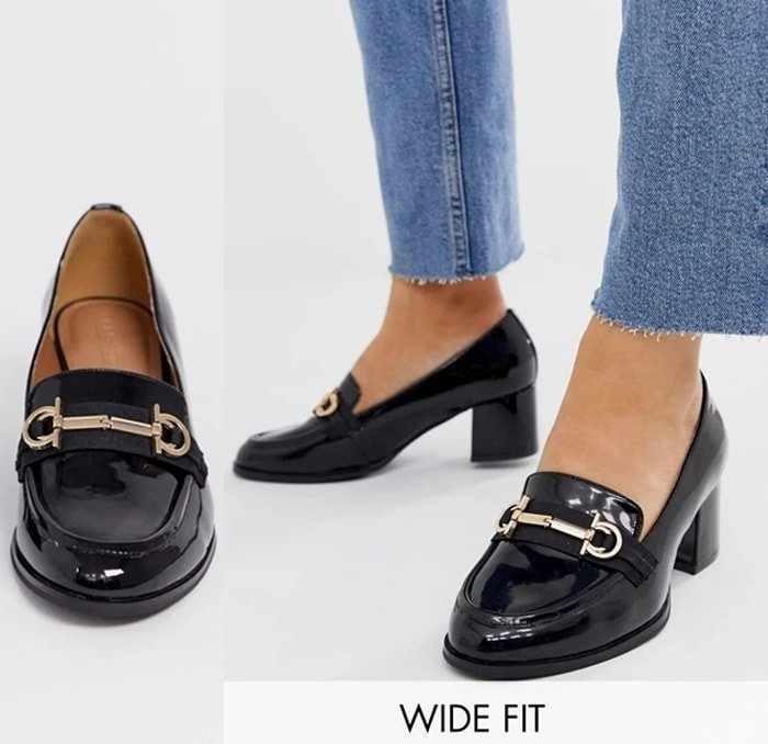 Wide fit mid-heeled ASOS loafers in black patent