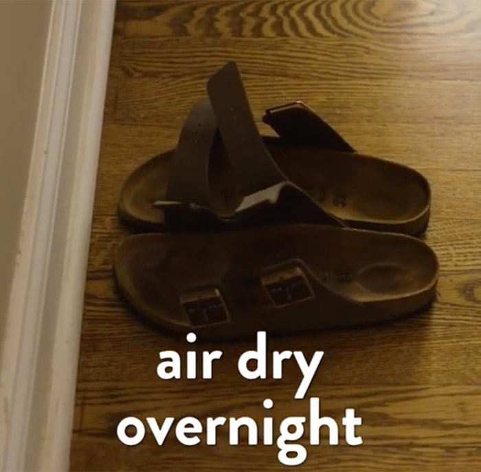 Air-dry your Birkenstocks away from the sunlight