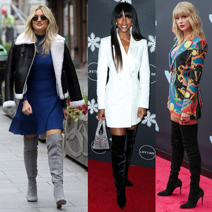Ashley Roberts, Kelly Rowland, and Taylor Swift flaunt their skinny calves in over-the-knee boots
