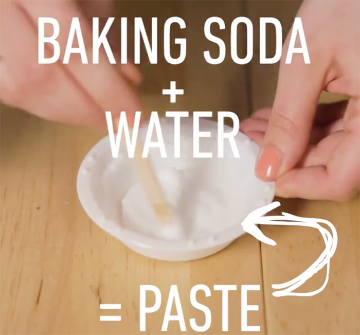 Mix baking soda and water to create a shoe cleaning paste