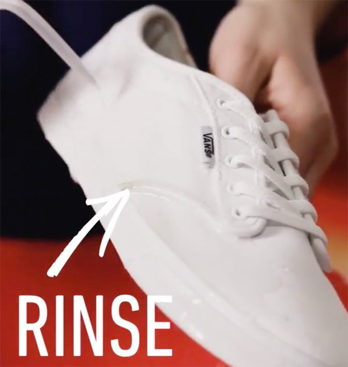 Rinse your shoes with water