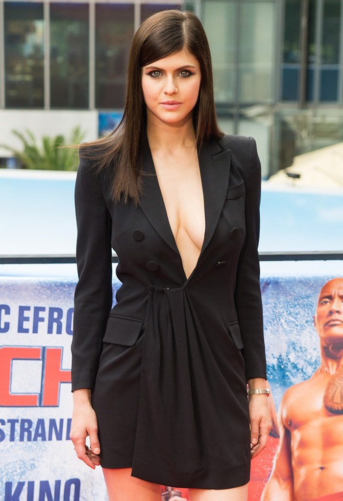 Alexandra Daddario skips wearing bra and shows ample cleavage at the Baywatch European premiere on May 28, 2017