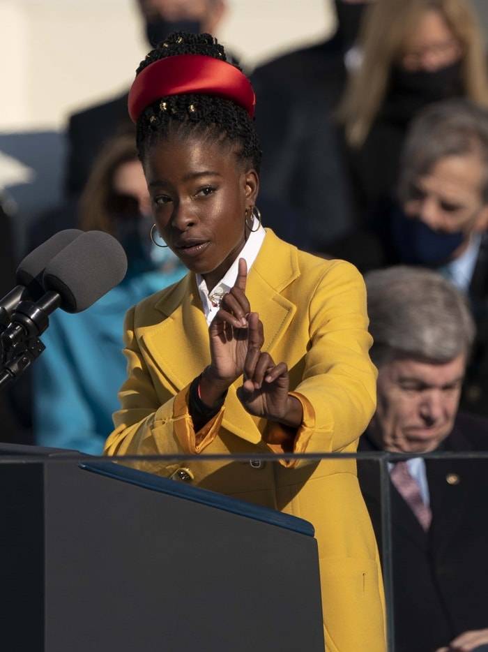 Poet Amanda Gorman reads her poem The Hill We Climb during the 59th presidential inauguration
