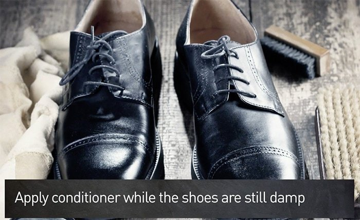 Add shine and protect your leather shoes from stains by applying leather conditioner