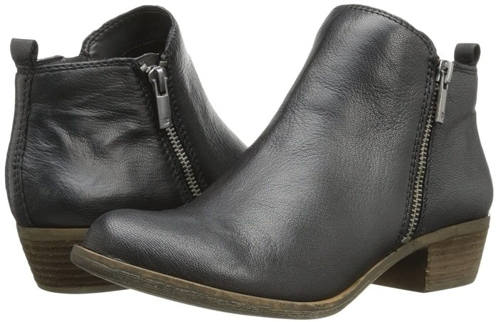 Comfortable almond toe Basel leather flat booties from Lucky Brand