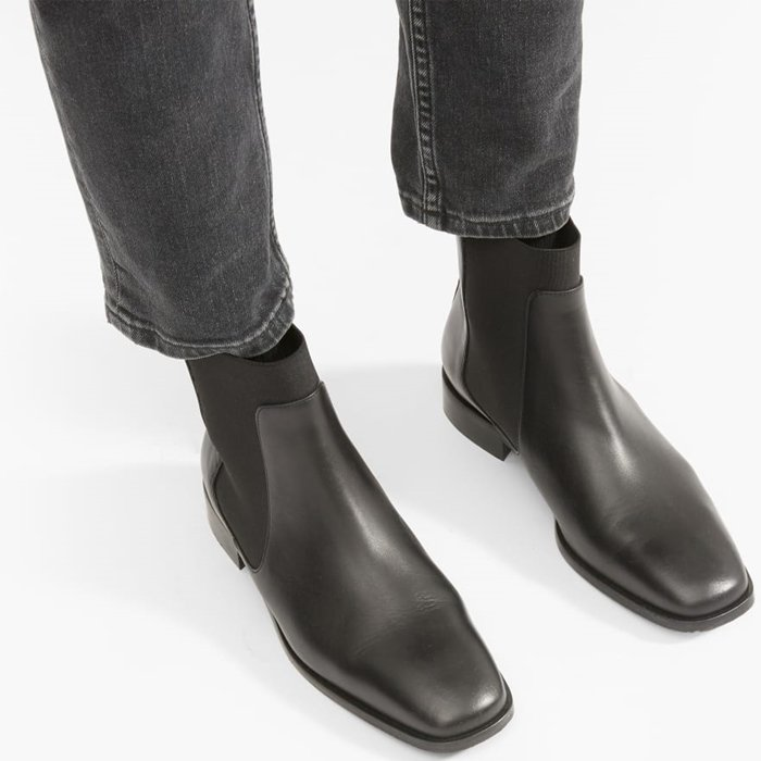 Made of premium Italian leather, the square toe Chelsea boot has a leather heel tab, a low stacked heel, and elastic panels on the sides and front for pull-on ease