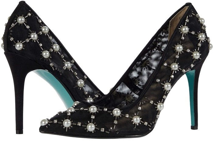 Black fabric pumps with imitation pearls and bead embellishments