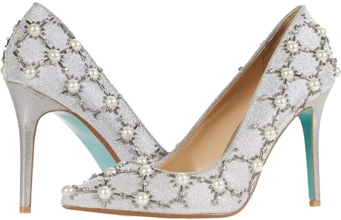 Embellish your look with these silver Betsey Johnson high heels with faux-pearl and silver bead detailing