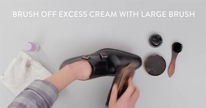 Once your shoes have dried for about 15 minutes, remove excess cream with a brush or a soft cloth
