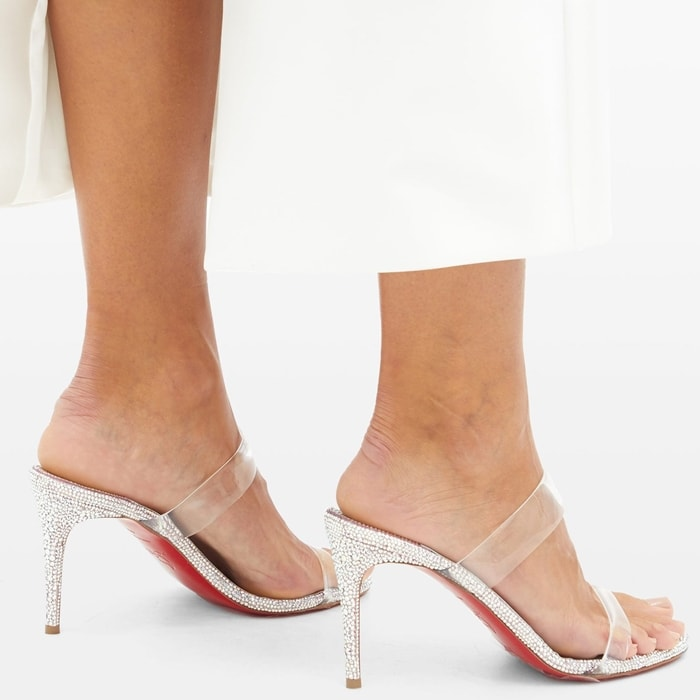 Shimmering strass embellishments adorn these on-trend PVC sandals made from iridescent leather