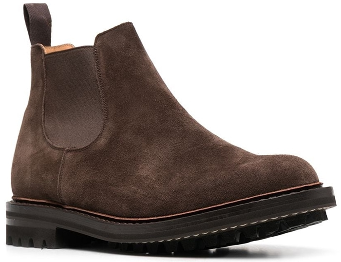 These brown suede Chelsea boots by Church's feature a classic design and a rigid rubber sole